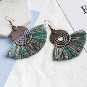 3/$20 New Copper & Teal Tassel Earrings